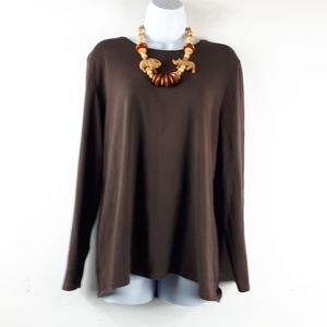 Denver Hayes Stretchy & Soft Pullover Brown Top